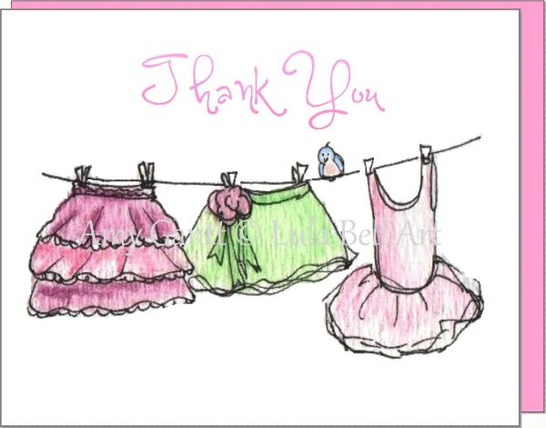 Thank You - Dress Up Clothes Line Boxed Note Cards