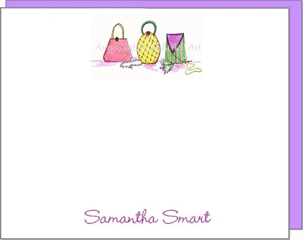 A Personalize - Pretty Purse Trio Flat cards