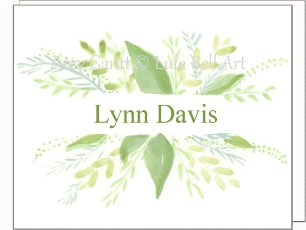 A Personalize - Green Spray Note Cards