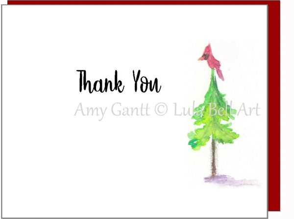 Thank You Cardinal in Tree Boxed Note Cards