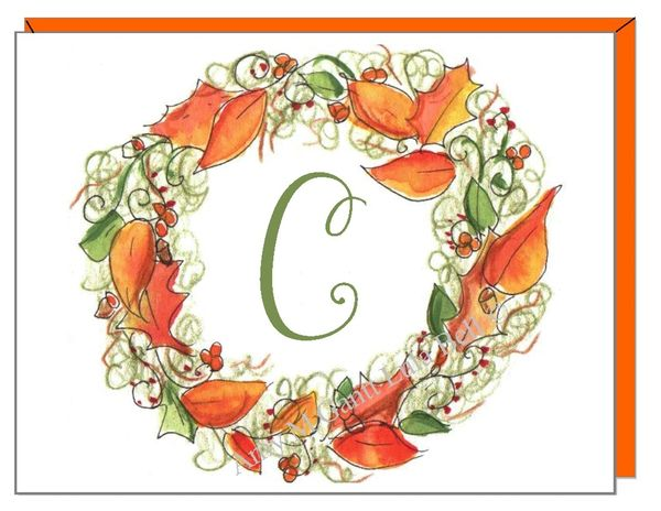 A Monogram - Fall Wreath Boxed Note Cards