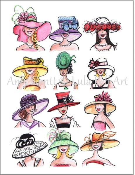 Birthday - Ladies with Hats Greeting Card