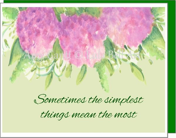 Thank You - Pink Hydrangeas Trio Greeting Card