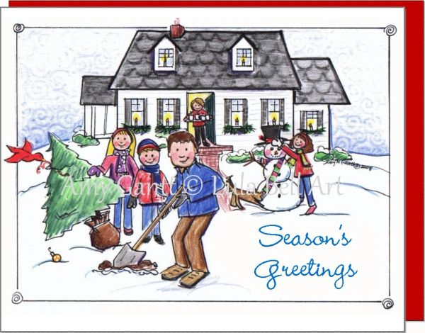 Christmas - Planting a Tree Greeting Card