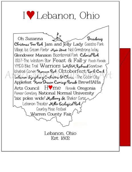 Lebanon, OH Greeting Card (Blank inside)
