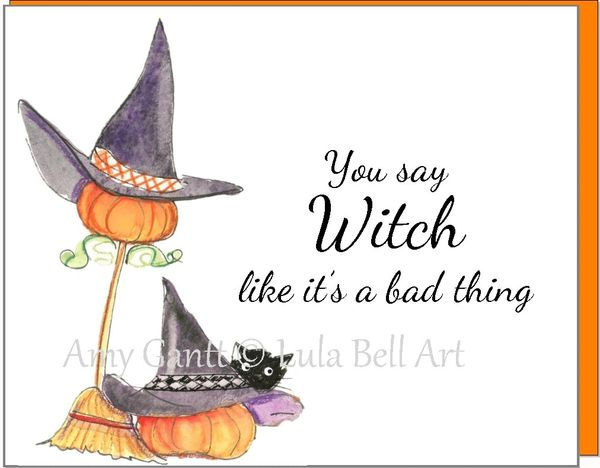 Halloween - Witch Hat and Broom Greeting Card