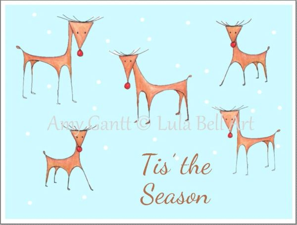 Christmas - Reindeer in the Snow Greeting Card