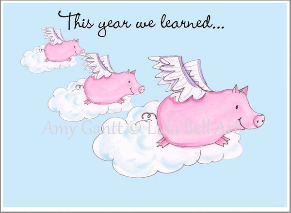 Covid Card - When Pigs Fly Greeting Card