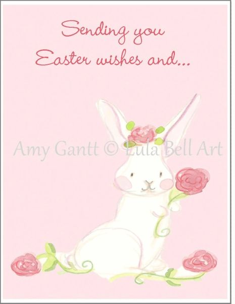Easter - Bunny Rose Greeting Card