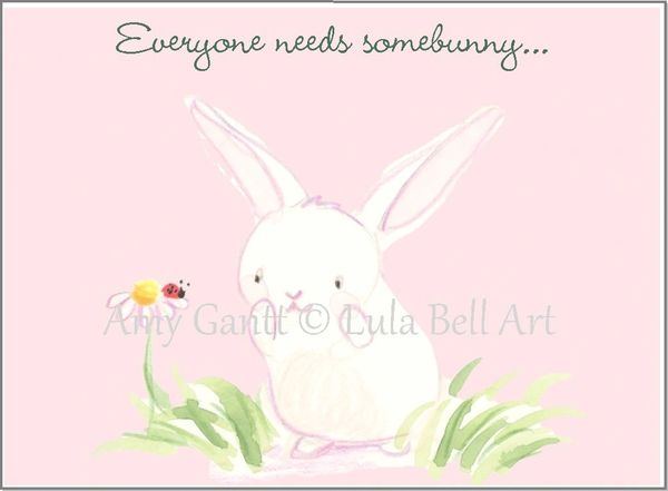 Friendship - Bunny with Blue Butterfly Greeting Card