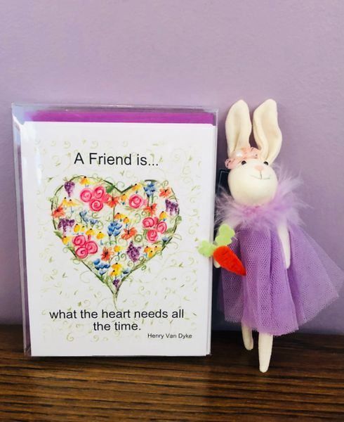 Heart of Flowers Note Cards with Bunny Ornament