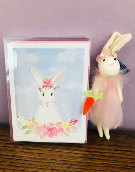 Bunny Note Cards with Bunny Ornament