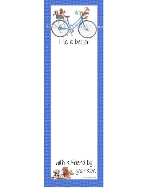 Blue Bike with Dogs List Pad