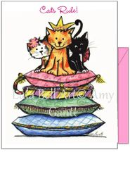 Watercolor painted Cats Rule Note Cards