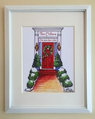 Framed Art Print - Christmas Red Door Personalized
