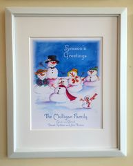 Framed Art Print - Snowman Family Personalized