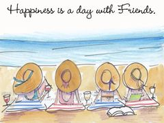 "Coastal - Bathing Beauties ""Happiness is a day with friends"" Boxed Note Cards"