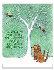 Art Print - Appreciate the Journey Winter Dog and Red Birds