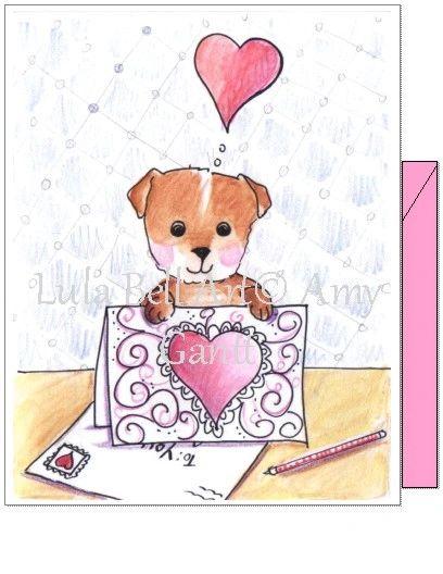 Valentine - Sending Puppy Love Greeting Card