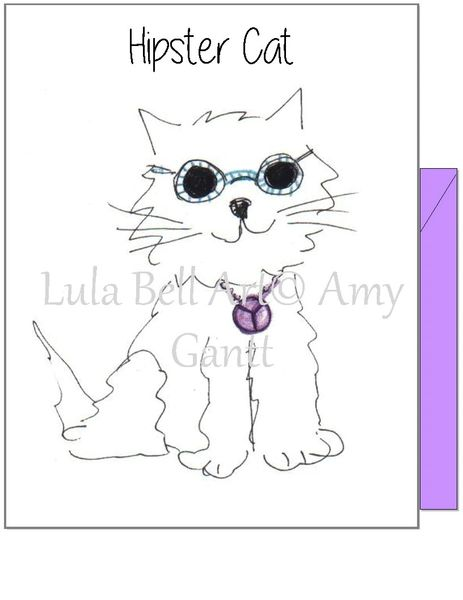 Birthday - Hipster Cat Greeting Card