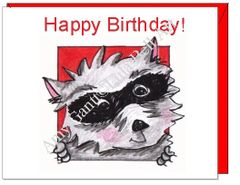 Birthday - Raccoon Greeting Card
