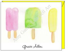 Watercolor painted More Popsicles Note Cards