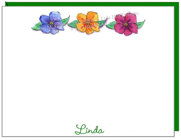A Personalize - Flower Trio Flat cards