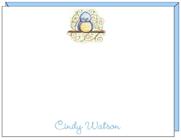 A Personalize - Blue Bird Flat Cards