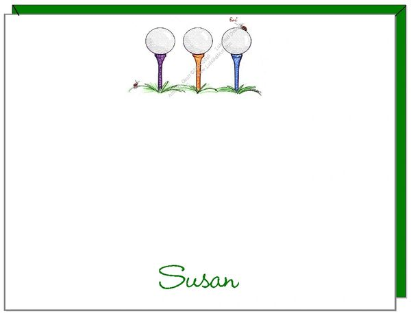 A Personalize - Golf Trio Personalized Flat Cards
