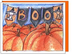 Halloween - Boo Pumpkins Greeting Card