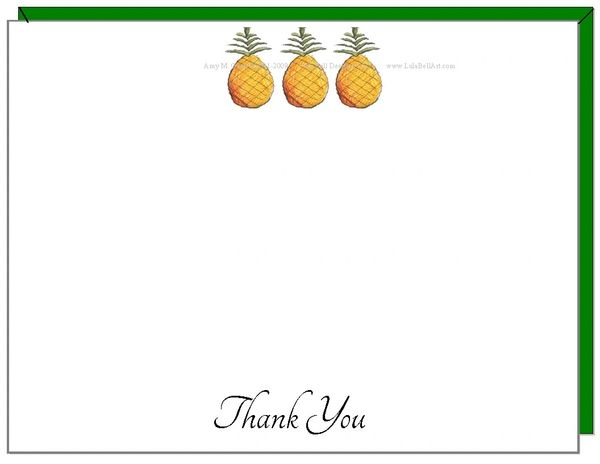 A Personalize - Pineapple Trio Boxed Flat Cards