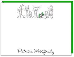 A Personalize - Cats in a Row Flat Personalized Cards