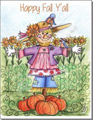 Art Print - Happy Fall Y'All - Scarecrow Girl