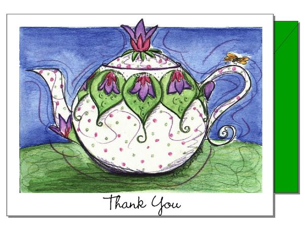 Thank You Violet Teapot Boxed Note Cards