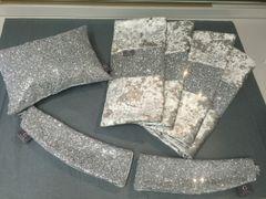 Stunning silver glitter bedroom set -Bed runner - Claira cushion - Glitter tiebacks