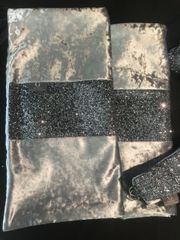 Beautiful gunmetal grey crushed velvet with gunmetal grey glitter bed runner