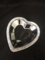 Beautiful silver and crystal heart dish - size options