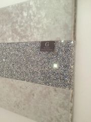 Luxury crushed velvet silver with stunning silver glitter wall art - size options