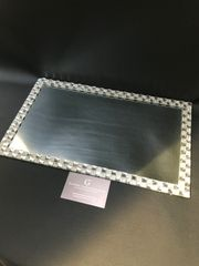 Beautiful mirror and crystal candle plate holder/placemat - large