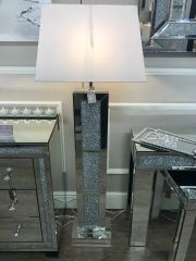 Stunning crystal crackle and mirror floor lamp - white shade