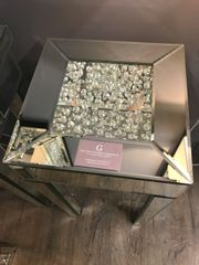 Beautiful floating crystal and mirror end table
