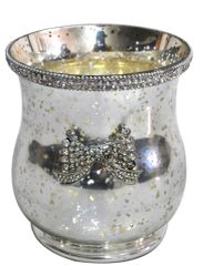Sparkle antique silver collection - hurricane candle jar with sparkle detail