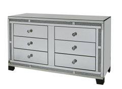 Beautiful crystal crackle & mirror 6 drawer cabinet