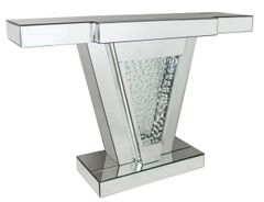 Stunning floating crystal and mirror V console table
