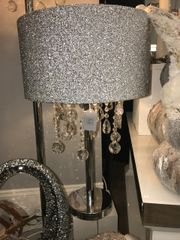 Beautiful Crystal pendent with silver sparkle shade chrome table lamp