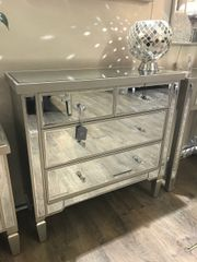 Ellaganza Champaign wood and mirror chest - crystal handles