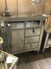 Ellaganza champaign wood & mirror drawer/cupboard