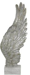 beautiful Mother of Pearl right Angel wing on stand - 49.5cm tall