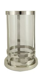 Nickel with glass hurricane candle holder - size options