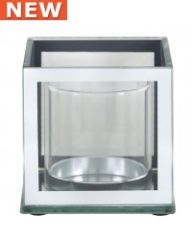 Mirror and glass pillar candle holder - size options